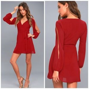 Lulu's Told You So Wine Red Long Sleeve Wrap Dress